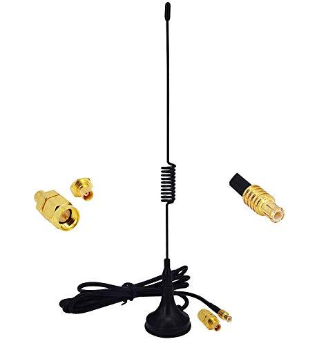 YILIANDUO 5dBi 1090 MHz Antenne MCX Stecker erhält ADS-B Antenne mit Magnetfuß Kabel RG174 1M + MCX Buchse auf SMA Stecker Adapterstecker