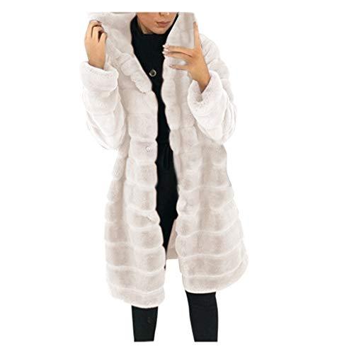 Carolui 2020 Neue Damen Faux-Fur Langarm Warmer Jacke Mantel Outwear Mantel Jacke Künstliches Pelz Fleecejacke Wollmantel Plüschjacke Pelzjacke(Beige,M)