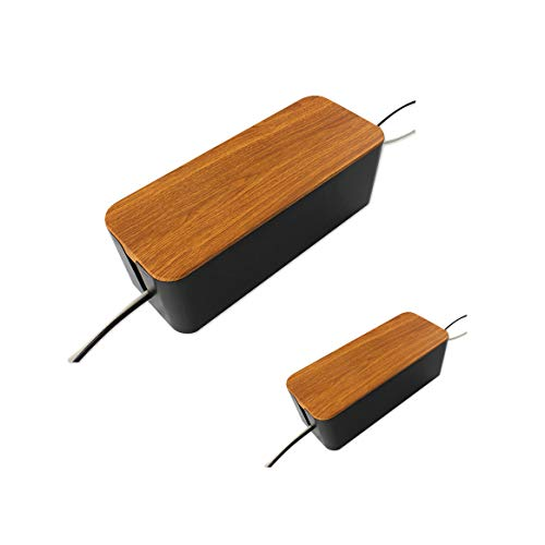 2 Pack Cable Management Box -Space Saving Wooden Style Cord Organizer Box Hide Power Strip for TV Computer Big and Small Surge Protector for Home and Office (Black)