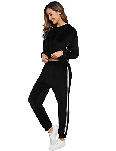 Hawiton Conjuntos Deportivos para Mujer 2 Piezas Casual Chándal Terciopelo Conjunto de Pijama Otoño Invierno Sudadera de Manga Larga + Pantalones Largo