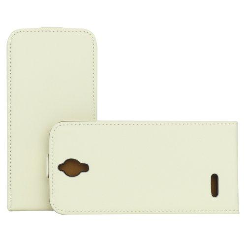 Rocina Premium - Funda con Tapa para Alcatel One Touch Idol 2 Mini, Color Blanco