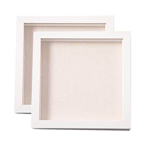 Muzilife - Cornice portafoto con tappetino in lino, 2 pezzi, profondità interna 2,5 cm, cornice 3D con pannello in vetro per appendere o visualizzare, colore: Bianco