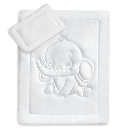 KiGATEX Bettdecken Set mit Elefantensteppung für Kinder & Babys - zertifizierte Bettwäsche mit Kissen & Decke - Allergiker geeignet - 100 x 135 cm