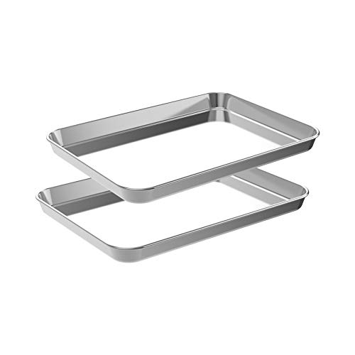 CEKEE Quarter Baking Sheet Set,2 Pans Stainless Steel Professional Kitchen Cooking Non-Stick Bake Pan for Cookie Muffin Cake Pizza Toaster Food Oven Trays(20 Inch)