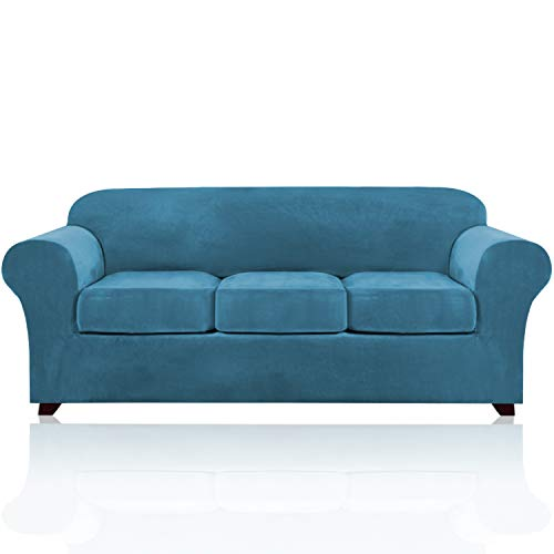 4 Pieces Sofa Covers Stretch Velvet Couch Covers for 3 Cushion Sofa Slipcovers Thick Soft Sofa Slip Covers with 2 Non Slip Straps Furniture Covers with 3 Individual Seat Cushion Covers (Sofa, Blue)