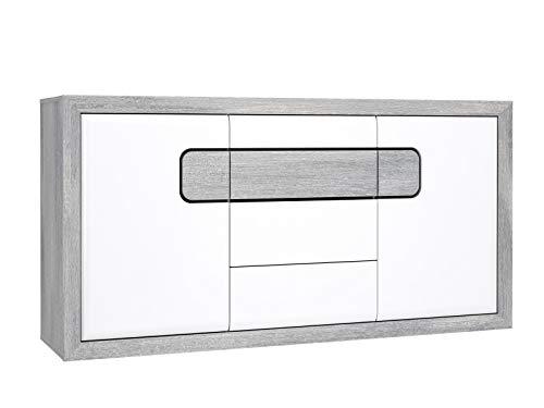 Furniture24 Kommode TOMASSO, Schrank, Wohnzimmerschrank, Sideboard mit 3 Türen, 4 Schubkästen (Nordic Eiche/Weiß Hochglanz/Schwarz)