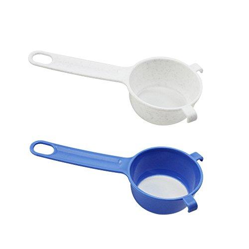 com-four® 2x Küchensieb aus Kunststoff - Puderzuckersieb - Feinmaschiges Sieb zum Backen - Mini Sieb für Tee, Kaffee, Kakao (2 Stück - blau/weiß)