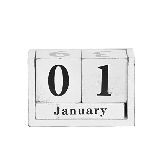 Rivanto Tisch Dauerkalender aus Holz, Shabby-Optik, in weißem Used-Look