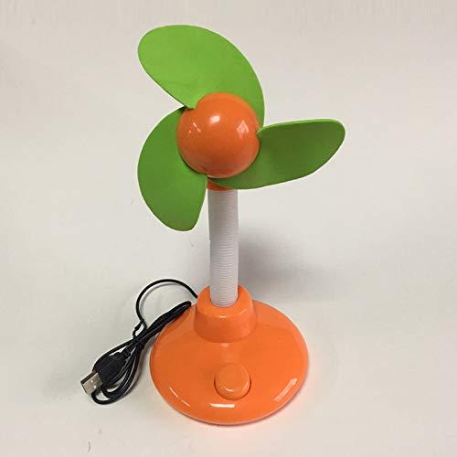 qingci Batería USB Ventilador De Doble Propósito Ventilador De Escritorio USB Ventilador De Flor De Sol 25 * 12cm Naranja