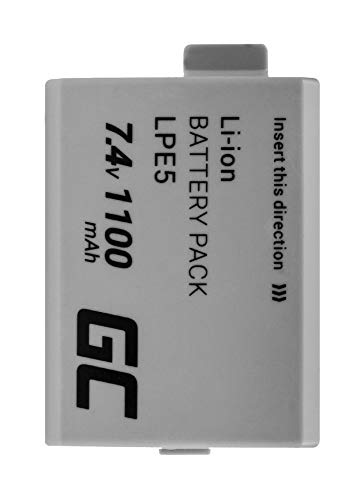 Green Cell® LP-E5 LPE5 Batería para Canon Battery Grip BG-E5 EOS 1000D 450D 500D Kiss F Kiss X2 Kiss X3 Rebel T1i Rebel XS Rebel XSi Cámara, Full Decoded (Li-Ion Celdas 1100mAh 7.4V)