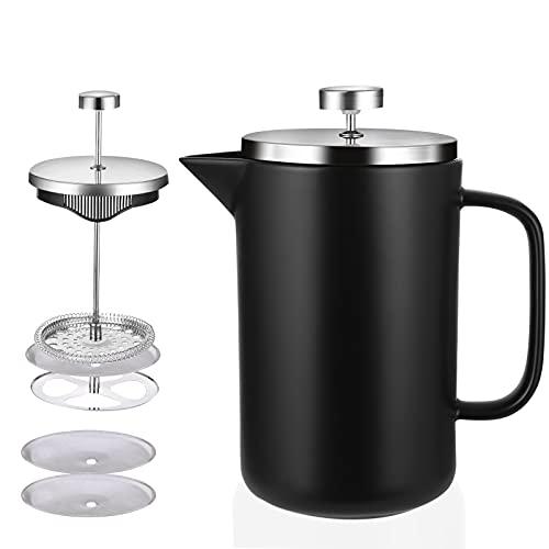 Soulpala® 8 tazas (1000 ml) Cafetera Francesa French Press Cafetera Filtro Cafetera de émbolo espresso y tetera Prensa francesa coffee maker con 2 filtros de repuesto per caffè, latte, tè