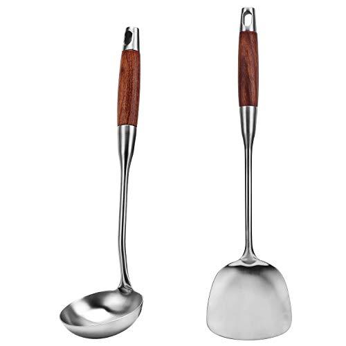 Coolty Juego de utensilios de cocina de 2 piezas, espátula para wok de acero inoxidable 304 y cucharón de sopa con mango de madera resistente al calor largo