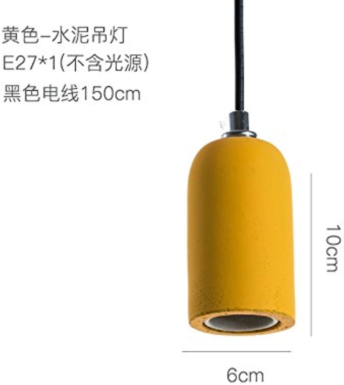 BESPD Kreative Zement Barrel Amerikanischen minimalistischen skandinavischen Farbe LED-Leuchten, die von der Decke hngen Gelb (Ohne Lichtquelle)