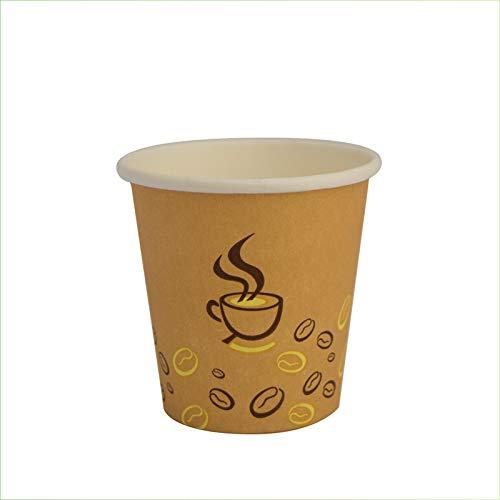 Palucart 500 Bicchieri in Carta per Caffe 90ml Colore Avana Grafica tazzina e Chicco caffè (3 oz) Bicchierini biodegradabili cartoncino