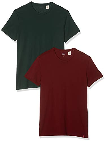 Levi's Slim 2pk Crewneck 1 T-Shirt, Multicolore (2 Pack Pine Grove/Warm Cabernet 0004), Small Uomo