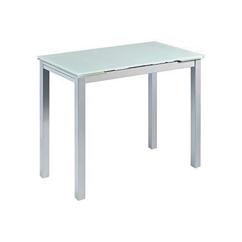 MOMMA HOME Mesa de Cocina Extensible - Modelo CALCUTA - Color Blanco/Plata - Material Cristal Templado/Metal - Medidas 100/140 x 60 x 76 cm