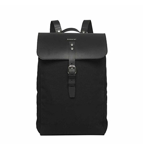 Sandqvist Alva Black Backpack Bag Canvas Leather