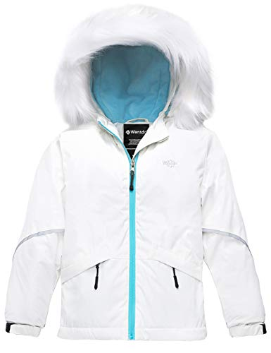 Wantdo Girl's Waterproof Ski Jacket Warm Raincoat with Fur Hood, Beige, 8