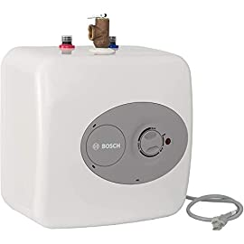 "Bosch Electric Mini-Tank Water Heater Tronic 3000 T 2.5-Gallon (ES2.5) - Eliminate Time for Hot Water - Shelf, Wall or… 6 CONVENIENT HOT WATER HEATER: 2.5 gallon point-of-use mini-tank fits under your sink to provide hot water right where you need it. Thermal efficiency is 98%. Dimensions : 13.75 W x 13.75 H x 10.75 D Inches LONG LASTING QUALITY: This electric water heater is easy to maintain and has premium glass-lined material for a long service life. (Amps 12A, Volts (VAC) 120) INDEPENDENT INSTALLATION: 36-37"" cord plugs into a 120 volt outlet for independent installation or in-line with a large hot water source"