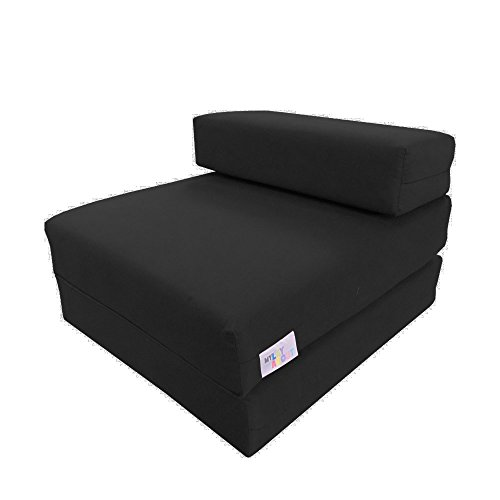 My Layabout Kids Single Z Bed Memory Foam Guest Bed/Fold Out Spare Bed Sofa/Chair/Futon/Mattress | Black