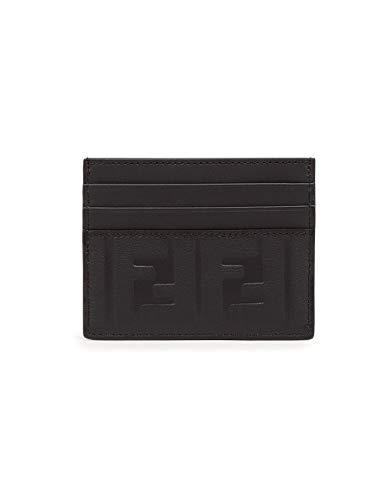 Fendi BNWB - Porta carte in pelle con logo in rilievo, colore: Nero