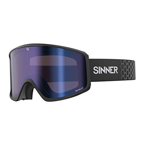 SINNER Skibrille für Herren und Damen - Magnett Schnell Lens-Wechselsystem Inklusive Blauer Doppelte Linse & Zweite Orange Linse - Brille für Ski & Snowboard mit Beschlag- und UV Schutz