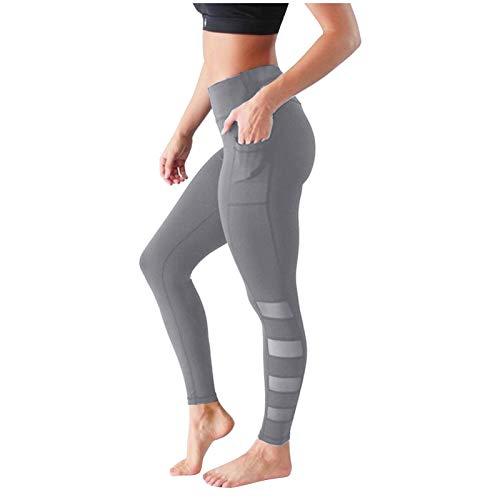 SHUYY Leggings De Sport Femmes Pantalon De Yoga à Barres ParallèLes à Poches De Couleur Unie à SéChage Rapide Le Champagne Vin du Nouvel an 2020 2021 Est à La Mode, éLéGant, Unique