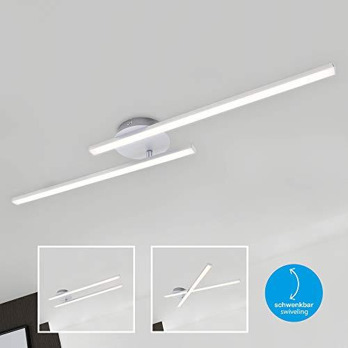 Briloner Leuchten LED Deckenleuchte, Deckenlampe 2-flammig, 1.400 Lumen, 3.000 Kelvin (warmweiß), 18 Watt, Aluminiumfarbig, 782x120x61mm (LxBxH)