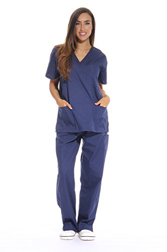 Just Love Women's Scrub Sets Six Pocket Medical Scrubs (V-Neck With Cargo Pant), Navy, Medium