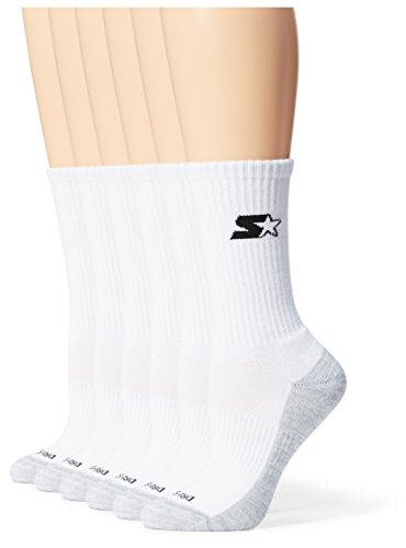 Starter Women's 6-Pack Athletic Crew Socks, Amazon Exclusive, White, Large (Shoe Size 10-13)