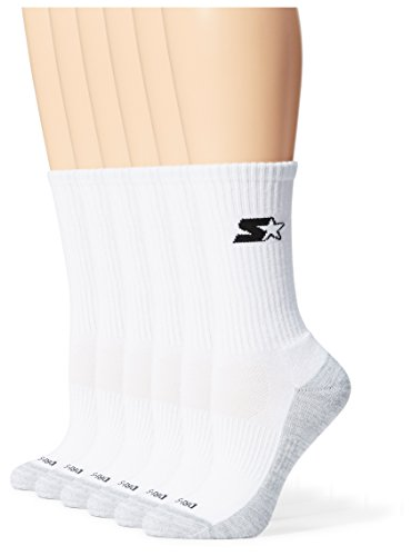 Starter Women's 6-Pack Athletic Crew Socks, Amazon Exclusive, White, Medium (Shoe Size 5-9.5)