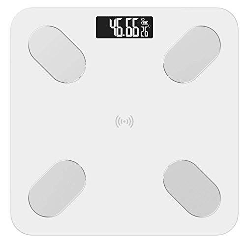 LKK-KK Balanza de Alta precisión Escala Cuerpo, Báscula de baño electrónica Inteligente Científico de Peso con la aplicación Bluetooth, 180Kg / 400lb Blanca