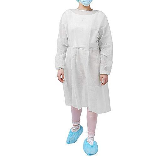 10 abiti isolanti PCS, abiti monouso per adulti, maniche lunghe, abiti protettivi per collo e cintura. Servizio di esame non sterile. Polipropilene Spunbond. Senza lattice Abito bianco