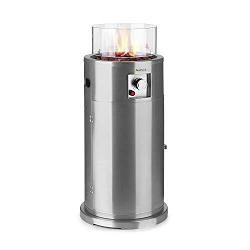 blumfeldt Lavastone Terrassenheizer Freiluftheizung, 30.000 BTU / 8,8 kW, 360° FireView: Brennerzylinder aus Temperglas, elektronische Zündung, Edelstahlbrenner, pulverbeschichteter Stahl, silber