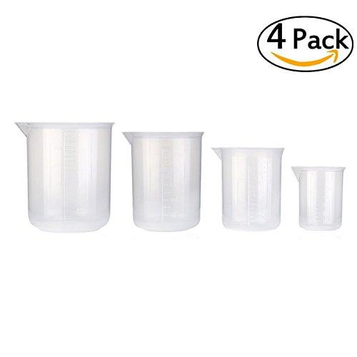 Sungpunet, becher graduati in plastica trasparente, ideali per misurare, 4 pezzi, 50?ml, 150?ml, 250?ml, 500?ml