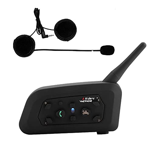 V6 Auriculares Intercomunicador Moto Bluetooth para Motocicletas, Gama Comunicación Intercom de 1200m, Intercomunicador Bluetooth Casco Moto, Intercomunicacion Entre 6 Motociclistas, Impermeabilidad