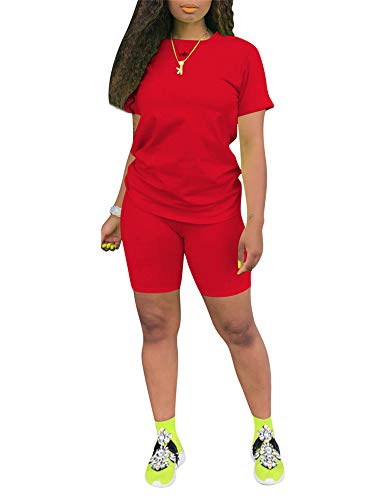 2 Piece Shorts Set for Women Biker Shorts Sets Sweat Suits Jumpers for Women Biker Shorts Sets Cute Summer Outfits