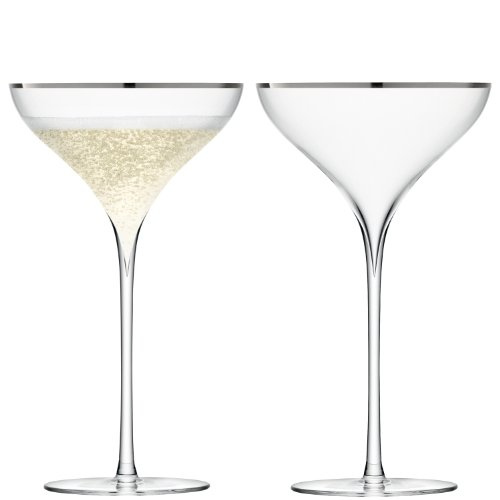 LSA Savoy Internacional Juego de 6Copas de champán, Cristal, Transparente, 250ml, Juego de 2