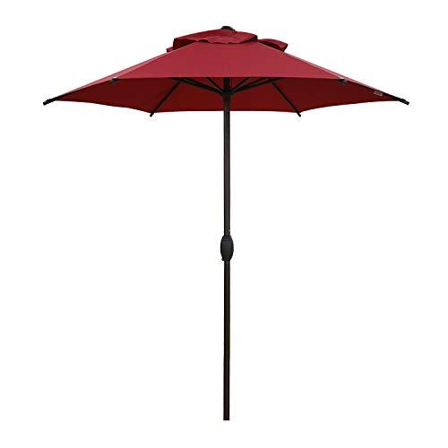 Abba Patio 7.5ft Patio Umbrella Outdoor Umbrella Patio Market Table Umbrella with Push Button Tilt and Crank for Garden, Lawn, Deck, Backyard & Pool, Beige