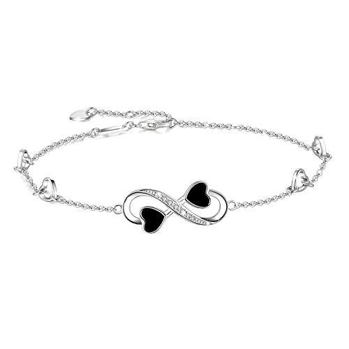 Tobillera Infinity para Mujer, Infinito Brazalete de Plata de Ley 925, Tobillera Ajustable, Pulsera Grande (Silver)