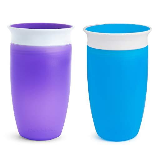 Munchkin Miracle 360° Set de 2 Vasos de Entrenamiento, Azul/Morado (Blue/Purple), 2 x 296 ml