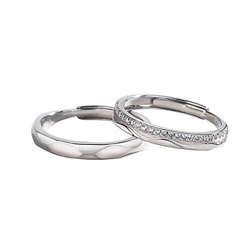 YOLANDE 925 sterling zilver trouwringen verlovingsringen partnerringen opening simpel band ringen instelbare ringen