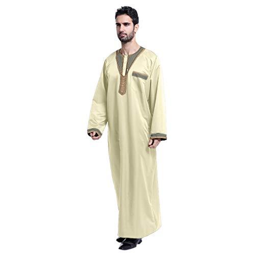 Männer Ethnisch RobenLange Ärmel Muslimische Shirt Lang Abaya-Islamischer-Muslim-Dubai Arab Mittlerer Osten MaxikleidKaftan Übergröße Kleidung URIBAKY