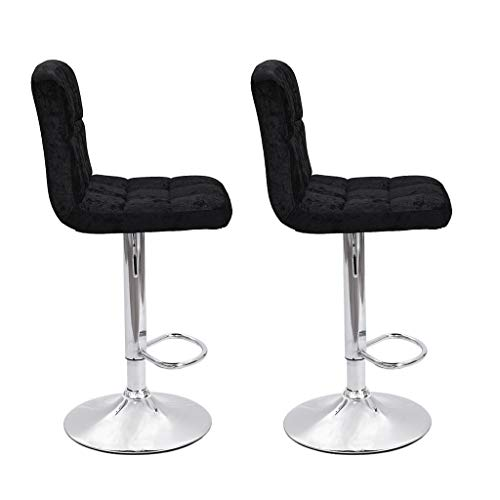 JinJin 2pcs Best Office Bar stools Height Adjustable Flannel Swivel Back Kitchen Counter Stools Bar Dining Velvet Chairs Set of 2 Height Swivel Stool Plating Foot (black)