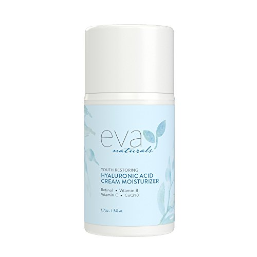 Hyaluronic Acid Moisturizing Cream by Eva Naturals - Best Wrinkle Cream - Facial Moisturizer, Dry Skin Cream, Retinol, Vitamin B, C & E, CoQ10 - Anti-Aging: Reduces Dry Skin, Fine Lines & Wrinkles