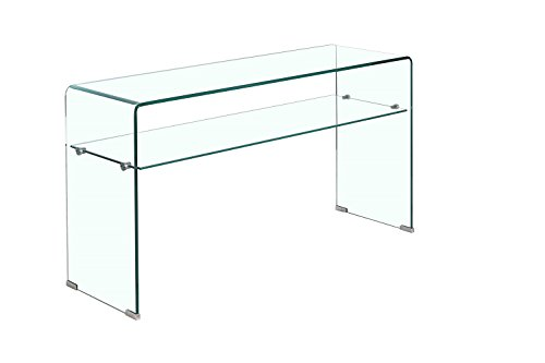 Console en Verre Transparent 100 cm avec Tablette - Table dentrée Design Contemporain - Ice