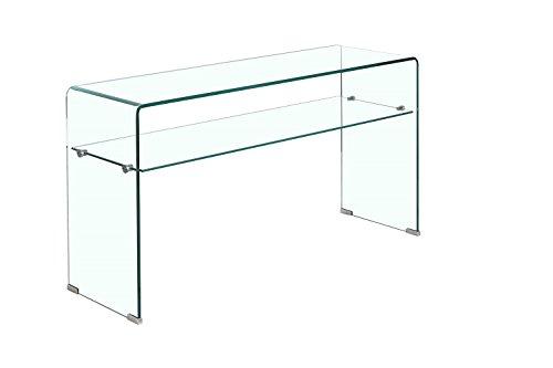 Meubletmoi Consolle in Vetro Trasparente 100 cm con ripiano - Tavolo d'ingresso di Design Contemporaneo - Ice