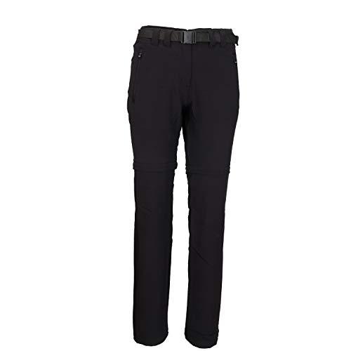 Pignolo P Zipp-Off bermuda broek dames ademend winddicht wandel-trekkingbroek met UV-bescherming en riem in zwart en vele kleuren Bayarda II