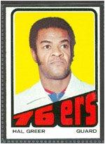 1972 Topps Regular  Basketball  Card# 56 hal greer of the Philadelphia 76ers Ex Condition