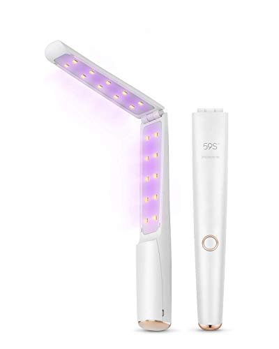 UV Light Sanitizer Wand, Portable UVC Light Disinfector Lamp Chargable Foldable for Home Hotel Travel 59S X5